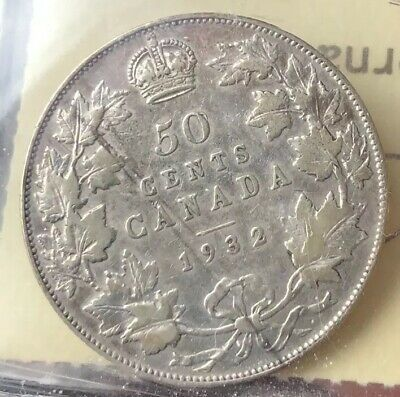 Key Date Canada 1932 50 Cents Half Dollar King George V .800 Silver Coin