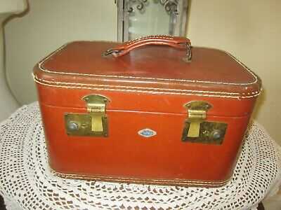 Vintage  Belber Neolite Leather Luggage Cosmetic Tan Suitcase Travel Case