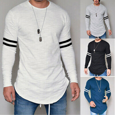 Men's Long Sleeve Muscle T-shirt Casual O Neck Slim Fit Tops Blouse Basic Tee US