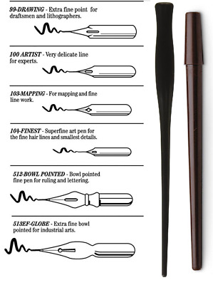 Speedball Mapping Pen Set with 6 Nibs - Fine Line Mechanical Drawings & Mapping