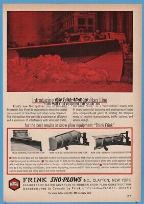 1964 Frink Snow Plow Blades One Way Reversible GREAT Public Works Art Ad
