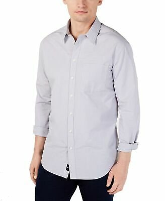 DKNY Mens Shirt Light Gray Size Large L Dobby Button Down Long-Sleeve $79 122