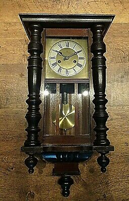 Antique HAC Hamburg American Clock Co Mahogany Vienna Wall Clock Key & Pendulum