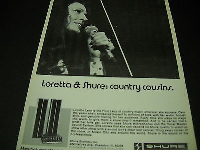 LORETTA LYNN is country cousins with SHURE microphones 1974 PROMO POSTER AD mint