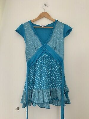 Ladies Dress Red herring 12 Blue Floral Short Sleeve Cotton <JS888