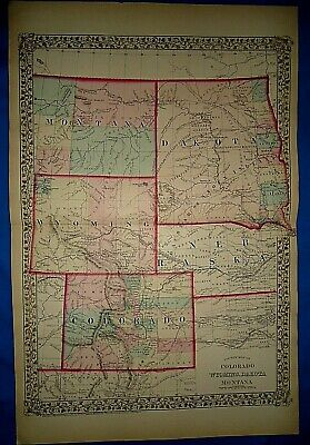Vintage 1878 MAP MONTANA DAKOTA WYOMING TERR COLORADO NEBRASKA Antique Original