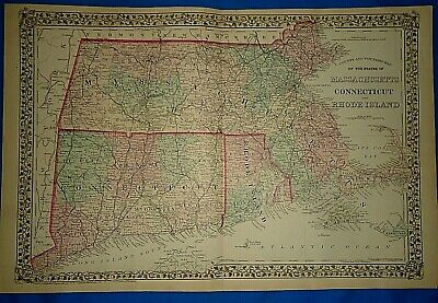 Vintage 1878 MAP ~ MASSACHUSETTS CONNECTICUT RHODE ISLAND Old Antique Original