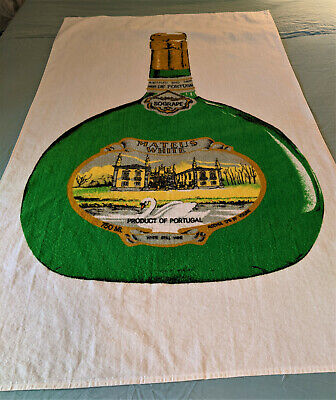Mateus White Wine Bottle Beach Towel Sogrape Portugal vintage Made in USA