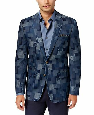 Talli Mens Blazer Blue Size 38 Denim Patched Notched Collar Two Button $350 022