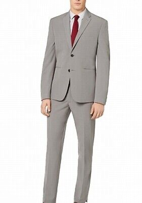 Perry Ellis Mens Suits Gray Size 44 Stretch Notch-Collar Two Button $495 052