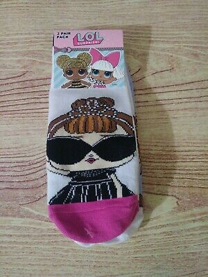 Girl's LOL Surprise 2 Pairs of Socks  Shoe Size 7-3 NWT!