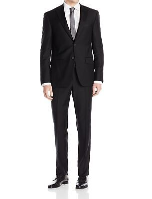 DKNY Mens Suit Black Size 38 Short Slim Two Button Unfinished-Hem $650 299