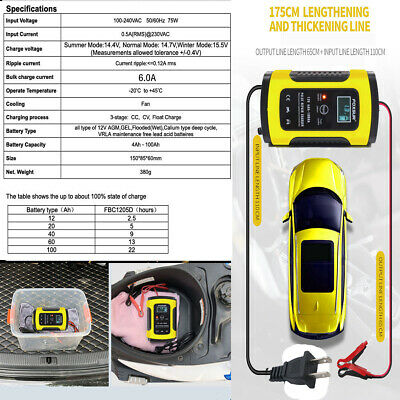 12V 6A Smart Fast Lead-acid Battery Charger for Car or Motorcycle LCD Display