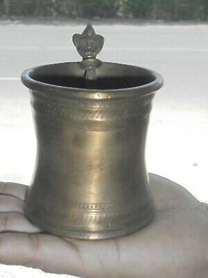 Old Brass Handcrafted Unique Shape Heavy Holy Water Pot