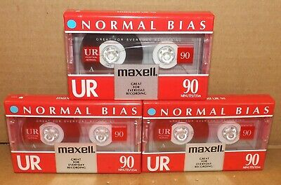 Maxell  UR 90 Position IEC Type 1 Normal  Blank Cassette Tapes  (3) New