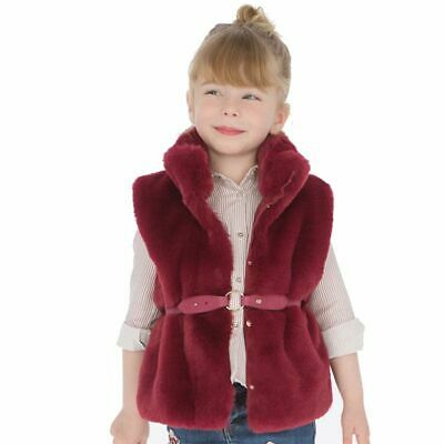 Mayoral  Girls Ruby red   Faux Fur Gilet With Belt Ages 2/3/4/5/6/7/8  4years