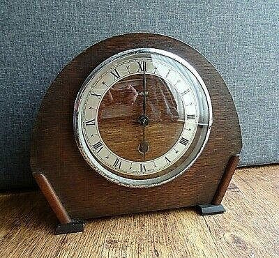 Antique 1920's/1930's Art Deco Enfield Oak Mantel Clock (Winding Mechanism Time)