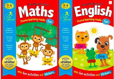 Leap Ahead Workbook Set __ Maths And English 3-4 Years _ Brand New _ Freepost Uk