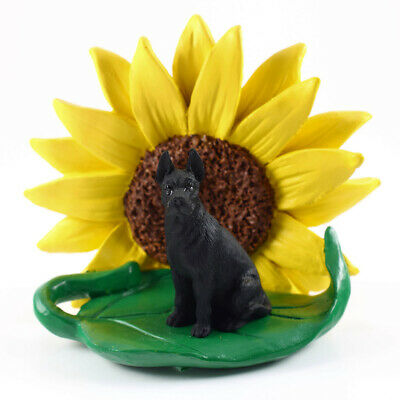 Great Dane Sunflower Figurine Black
