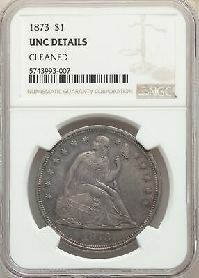 1873 US Seated Liberty Silver Dollar $1 - NGC UNC Details Cleaned