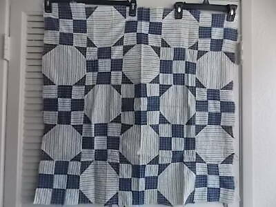 """Nice Indigo/White Shirting Quilt Top 1930's Project Piece 30"""" Block Square"""