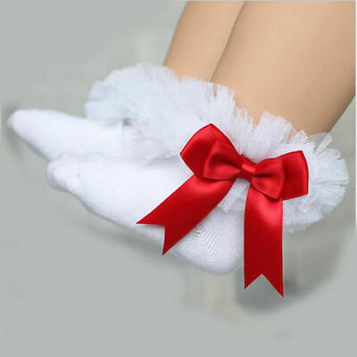 0 -5Y Toddler Baby Girls Bowknot Sock Lace Ruffle Frilly Trim Cotton Ankle Socks
