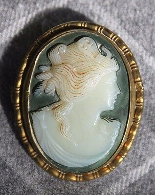 Antique Hand Carved Victorian Glass CAMEO Yellow Gold Plated Brooch Pendant