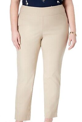 Charter Club Womens Dress Pants Beige Size 14WS Plus Slim Tummy Control $59 342
