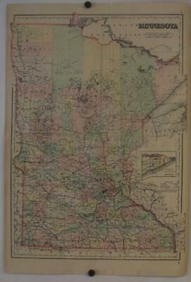 Minnesota United States 1886 Colton  Large Two Sheets Antique Steel Engraved Map