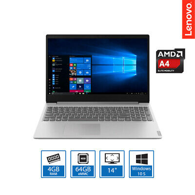 "Lenovo Ideapad Slim 14"" Light Weight Laptop AMD A4-9120e 4GB RAM, 64GB, Win 10S"
