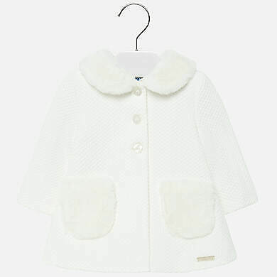 New Mayoral formal knit lined cream coat for baby girl 24 months 2-3 years
