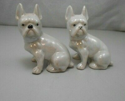 Vintage White Lusterware French Bulldogs Dog Sitting Figurines Japan Set of 2