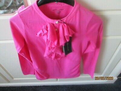 Polo Ralph Lauren Pink Frilled Front Top 8/10 Bnwt