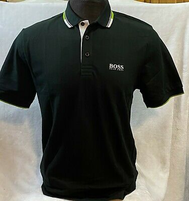 Hugo Boss Polo For Men 100 % Cotton Short Sleeve Regular fit Color Black