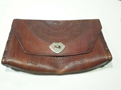 Vintage Brown Tan Hand Tooled Leather Clutch purse genuine 70s