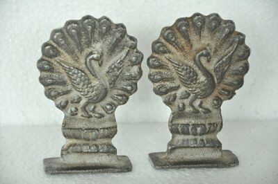 2 Pc Old Iron Peacock Crafted Solid Heavy Decorative Figurine