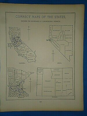 Vintage 1891 MAP ~ STATE BOUNDARIES of CONGRESSIONAL DISTRICTS Antique Original