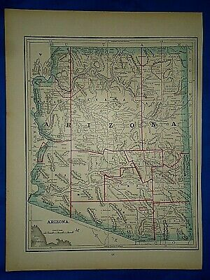 Vintage 1891 MAP ~ ARIZONA TERRITORY - Old Antique Original Atlas Map
