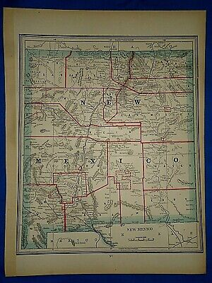 Vintage 1891 MAP ~ NEW MEXICO TERRITORY - Old Antique Original Atlas Map