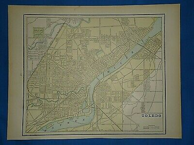 Vintage 1891 MAP ~ TOLEDO, OHIO Old Antique Original Atlas Map