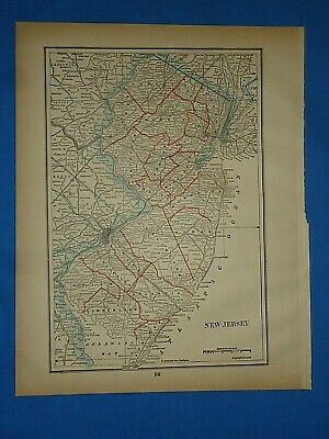Vintage 1893 Map ~ NEW JERSEY ~ Old Antique Original Atlas Map ~ Quick N Free