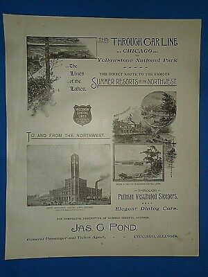 Vintage 1893 Advertisement ~ WISCONSIN CENTRAL LINES - NORTHERN PACIFIC RAILROAD