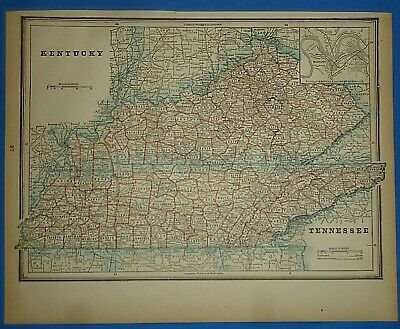 Vintage 1893 Map ~ KENTUCKY TENNESSEE ~ Antique Original Atlas Map Quick N Free