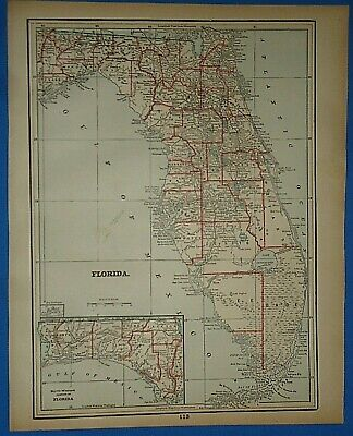 Vintage 1893 Map ~ FLORIDA Old Antique Original Atlas Map ~ Quick N Free
