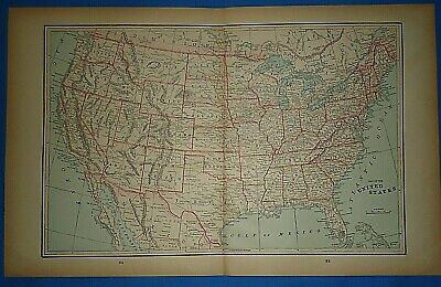 Vintage 1893 Map ~ UNITED STATES ~ Old Antique Original Atlas Map - Quick N Free