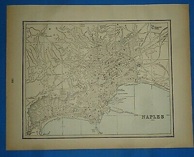 Vintage 1893 Map ~ NAPLES, ITALY ~ Old Antique Original Atlas Map - Quick N Free