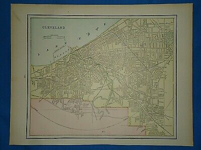 Vintage 1891 MAP ~ CLEVELAND, OHIO Old Antique Original Atlas Map