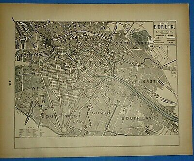 Vintage 1893 Map ~ BERLIN, GERMANY Old Antique Original Atlas Map - Quick N Free