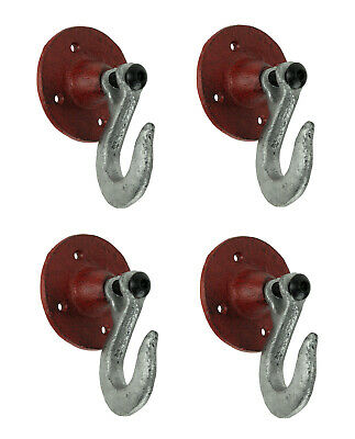 Red and Silver Cast Iron Industrial Hook Wall Hangers Set of 4