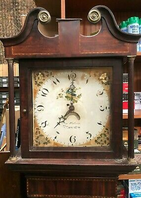 19th Century Inlaid Oak Long Case Grandfather Clock J Wilson Nuneaton